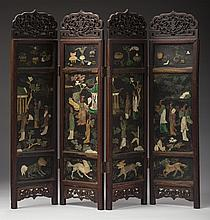 CHINESE PIERCE-CARVED, PAINTED AND APPLIED CARVED HARDSTONE FOUR-PANEL HARDWOOD TABLE SCREEN.