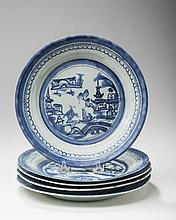 FIVE CANTON PORCELAIN BLUE AND WHITE PLATES, NINETEENTH-EARLY TWENTIETH CENTURY.