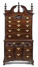 RHODE ISLAND CHIPPENDALE STYLE CARVED MAHOGANY CHEST-ON-CHEST.