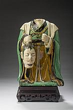 CHINESE GLAZED POTTERY FIGURE OF THE MAGICIAN SHEN KUNG-PAO.