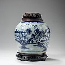 CANTON PORCELAIN BLUE AND WHITE GINGER JAR WITH CARVED HARDWOOD COVER, NINETEENTH CENTURY.