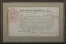 JONATHAN TRUMBULL, GOVERNOR OF CONNECTICUT. SIGNED MILITARY APPOINTMENT FOR ALLYN BUNNELL, HARTFORD, 19 MAY 1809.