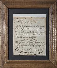 BENNING WENTWORTH, PROVINCIAL GOVERNOR OF NEW HAMPSHIRE. SIGNED MARRIAGE LICENSE FOR BENJAMIN STAPLES AND JERUSHA LIBBEY, PORTSMOUTH, 29 NOVEMBER, 1762.