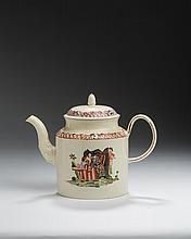 STAFFORDSHIRE CREAMWARE TRANSFER-PRINTED AND ENAMEL-DECORATED 'HARLEQUIN AND COLUMBINE' TEAPOT AND COVER, WILLIAM GREATBATCH, CIRCA 1770.