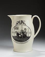 ENGLISH CREAMWARE BLACK TRANSFER-PRINTED SATIRICAL JUG, CIRCA 1780.