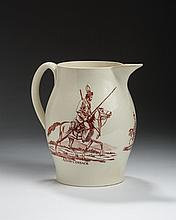 ENGLISH CREAMWARE RED TRANSFER-PRINTED 'A DON COSSACK' AND 'COSACK' [SIC] JUG, 1805-15.