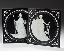 PAIR OF STAFFORDSHIRE PATE-SUR-PATE BLACK-GROUND ALLEGORICAL PLAQUES DEPICTING