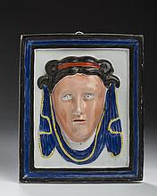 STAFFORDSHIRE PEARLWARE ENAMEL-DECORATED PORTRAIT PLAQUE OF A NEOCLASSICAL WOMAN, CIRCA 1800.