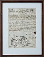 TWELVE FRAMED MANUSCRIPTS AND DOCUMENTS PERTAINING TO THE HULL FAMILY OF CONNECTICUT AND MASSACHUSETTS, 1717-1899.