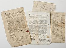 GROUP OF MASSACHUSETTS DOCUMENTS AND MANUSCRIPT MATERIAL, EIGHTEENTH CENTURY.