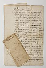 TWO DEEDS RELATED TO THE ESTABLISHMENT OF THE OLD WEST CONGREGATIONAL CHURCH, WILLIAM HOOPER, PASTOR, BOSTON, 1738-1740.