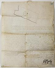 WILLIAM BURNET, COLONIAL GOVERNOR OF NEW YORK. SIGNED LAND GRANT MADE TO GODFRIED DEWULFEN, NEW YORK, 20 JUNE, 1722.