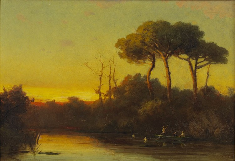 Louis Remy Mignot (American 1831-1870). Southern Bayou scene with figures in a boat.