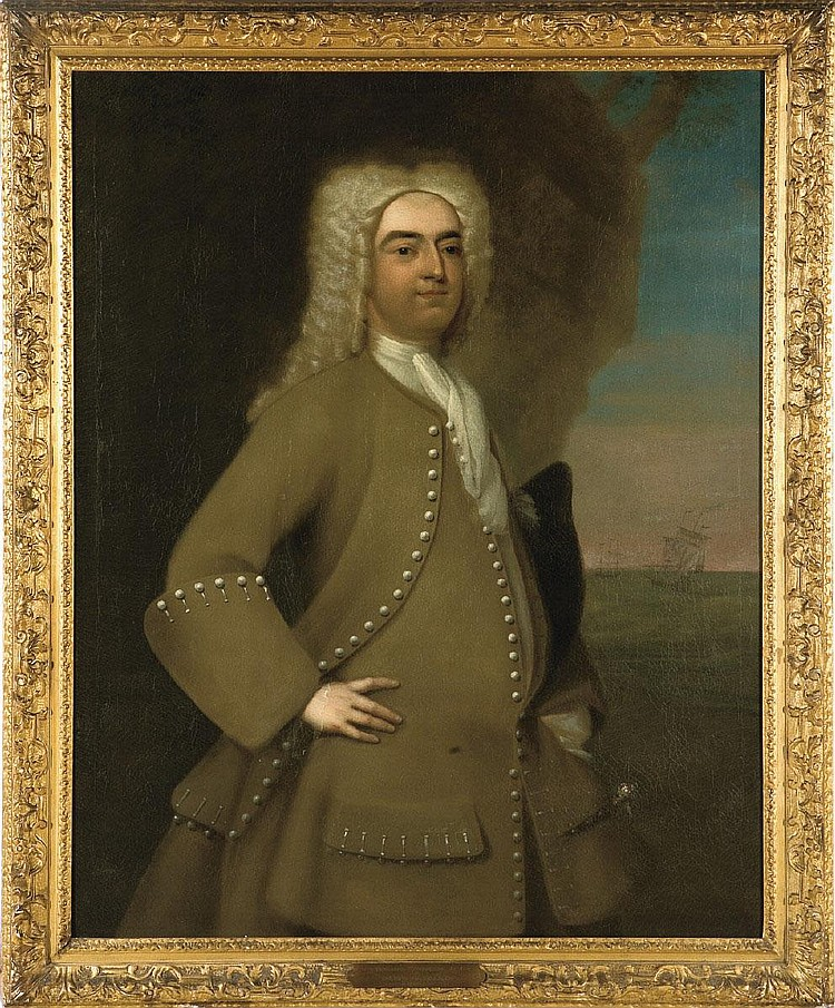 JOSEPH BLACKBURN (BRITISH, ACT. 1752-1778). PORTRAIT OF CAPTAIN NATHANIEL CUNNINGHAM, JR., CIRCA 1756.