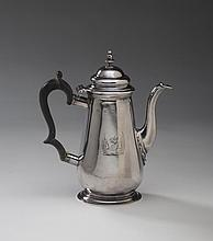 GEORGE II SILVER SMALL CRESTED COFFEEPOT, LONDON, PROBABLY RICHARD BAYLEY, 1739-56.