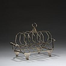 GEORGE III SILVER SIX-SLICE TOAST RACK, JOHN EMES, LONDON, 1804-05.