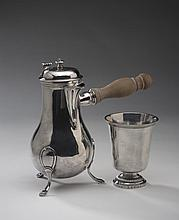 FRENCH SILVER CHOCOLATE POT AND A BEAKER.