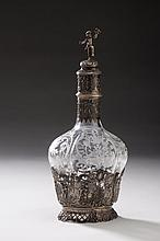 GERMAN SILVER-MOUNTED CUT AND ENGRAVED GLASS LIQUEUR DECANTER, LATE NINETEENTH CENTURY.