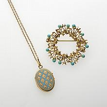 GOLD CIRCLE PIN SET WITH TURQUOISE STONES, AND A TURQUOISE ENAMEL LOCKET.