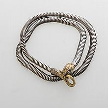 SILVER AND GOLD COIL SNAKE NECKLACE.