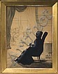 AUGUSTE EDOUART (FRENCH 1789-1861). SILHOUETTE OF A WOMAN SEATED IN A ROCKING CHAIR AND KNITTING, MRS. WILLIAM DANDRIDGE PECK., Auguste Edouart, Click for value
