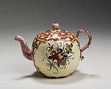 WEDGWOOD CREAMWARE 'CHINTZ' PATTERN TEAPOT AND COVER, CIRCA 1770.