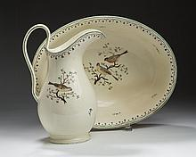 WEDGWOOD CREAMWARE ENAMEL-DECORATED EWER AND BOWL, PROBABLY PAINTED AT THE CHELSEA STUDIO, CIRCA 1775.