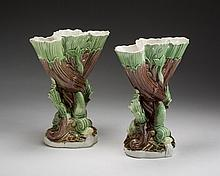 PAIR OF WOOD FAMILY PEARLWARE TRIPLE SPILL VASES, 1789-1801.