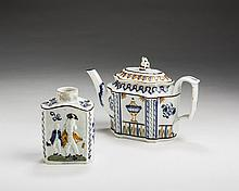ENGLISH PEARLWARE 'MACARONI FIGURES' TEA CADDY, 1780-1800; AND A PEARLWARE TEAPOT AND COVER, 1790-1800.