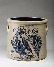 WORCESTER, MASSACHUSETTS SALTGLAZE STONEWARE COBALT BLUE-DECORATED SIX GALLON CROCK, FRANK B. NORTON & CO., 1860-80.