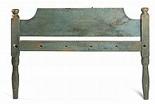 PAIR OF NEW ENGLAND COUNTRY 'HIRED-MAN'S' BEDS WITH SHAPED HEADBOARDS IN BLUE-GREEN PAINT.