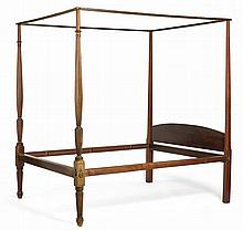 NEW ENGLAND FEDERAL CARVED AND INLAID-MAHOGANY TESTER BEDSTEAD, PROBABLY PORTSMOUTH, CIRCA 1810.