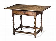 NEW ENGLAND WILLIAM AND MARY MAPLE TAVERN TABLE WITH BREADBOARD ENDS.