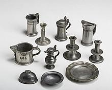 GROUP OF ENGLISH AND CONTINENTAL MINIATURE PEWTER WARES, NINETEENTH-TWENTIETH CENTURY.