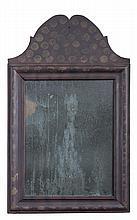 QUEEN ANNE PAINTED AND DECORATED SMALL MIRROR.