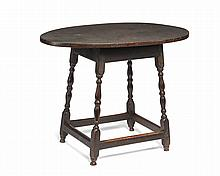NEW ENGLAND WILLIAM AND MARY TURNED AND PAINTED MAPLE TAVERN TABLE.