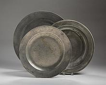 GEORGE III PEWTER CHARGER, GRAHAM & WARDROP; A DEEP PLATE, BUREUM & CATCETT, DATED 1768; AND PEWTER DEEP DISH WITH FAINT MAKER'S MARK
