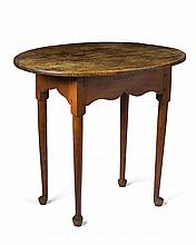 NEW ENGLAND QUEEN ANNE MAPLE AND TIGER MAPLE TAVERN TABLE.