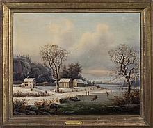 REGIS FRANCOIS GIGNOUX (FRENCH, ACT. IN THE U.S. 1840-1870). WINTER SKATING SCENE IN NEW ENGLAND, CIRCA 1850.