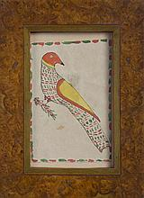 PENNSYLVANIA WATERCOLOR BOOKPLATE OF A PARROT PERCHED ON A BRANCH.