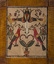 PENNSYLVANIA MARRIAGE FRAKTUR DEPICTING TULIPS AND PAIRS OF BIRDS, DATED 1826.