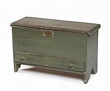 NEW ENGLAND PAINTED BLANKET CHEST OF SMALL SIZE.