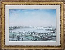 PASTEL DRAWING OF CENTER HARBOR, LAKE WINNIPESAUKEE, MID-NINETEENTH CENTURY.