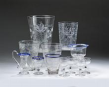 GROUP OF AMERICAN AND BOHEMIAN FREE-BLOWN, BLOWN-MOLDED, ETCHED AND ENGRAVED GLASS WARES.