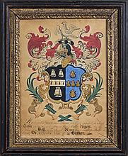 WATERCOLOR COAT-OF-ARMS FOR THE BELL AND BARKER FAMILIES.