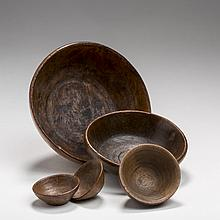BURLWOOD CARVED AND TURNED SMALL BOWL, A CHESTNUT BOWL, AND THREE MINIATURE BOWLS, NINETEENTH CENTURY.
