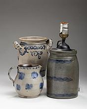 NORTHEASTERN SALTGLAZE STONEWARE COBALT BLUE-DECORATED STORAGE JAR, POSSIBLY THE MORGAN FAMILY, NEW JERSEY, NINETEENTH CENTURY.