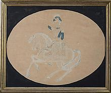 WATERCOLOR OF AN OFFICER MOUNTED ON A DAPPLED WHITE STEED, NINETEENTH CENTURY.