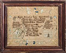 NEEDLEWORK RECORD FOR THE COLCORD FAMILY OF PORTLAND, MAINE, WORKED BY MARY GRIFFITH COLCORD, CIRCA 1812-14.