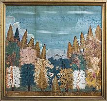 CUT-PAPER COLLAGE OF A FOREST SCENE IN AUTUMN, LATE NINETEENTH CENTURY.